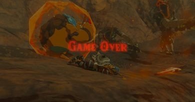 Screenshot from Zelda: Breath of The Wild. Screen is blurred with the words 'Game Over' in red. Link is laying on the ground.