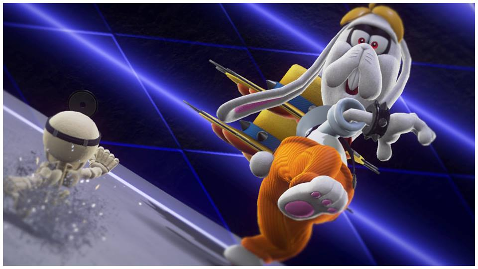 Picture from Super Mario Odyssey. A rabbit to the right with orange pants, and a yellow straw hat with spikes. Rabbit is throwing hat towards a skeleton in the left bottom corner of the screen.