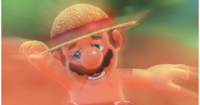 Picture taken from Super Mario Odyssey. Mario in the center; he has a brown mustache, a straw hat, and red polka dot boxers on. He looks disoriented.