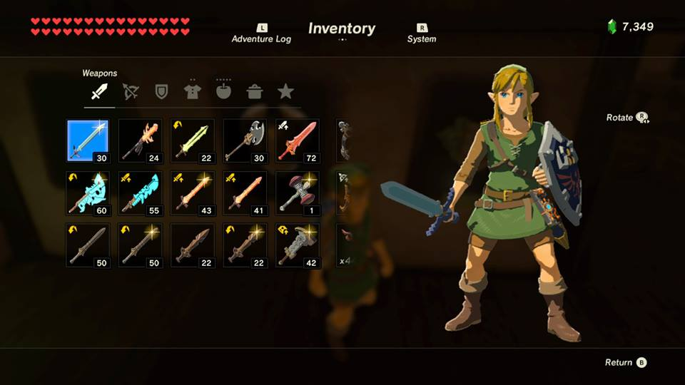Screenshot from Zelda: Breath Of The Wild. Link is to the right; wearing the traditional green and brown tunic. He is equipped with a sword and shield. To the left is the inventory menu; listing several weapons Link can equipped.