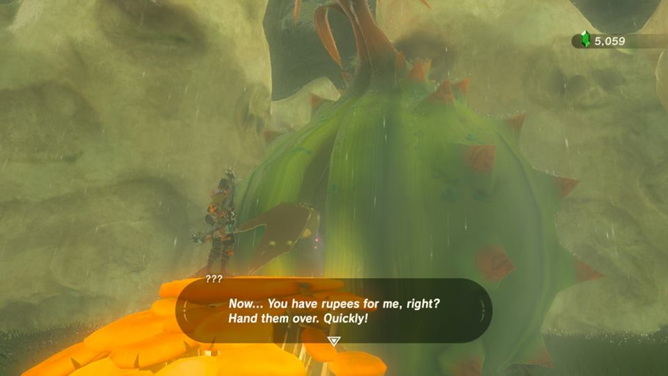 Screenshot from Zelda: Breath of The Wild. In the center is a large green plant with a hand sticking out of the bud. Said character is wanting Link, who is standing in front of the bud, to pay rupees.