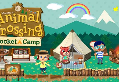 Press Photo of Animal Crossing Pocket Camp. Several colorful characters standing on a green lawn, with a tent, and picnic set up in the background. A rainbow hangs above them in the sky.
