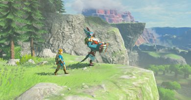 Screenshot from Zelda: Breath Of The Wild. Link is walking beside a blue parrot named Kass. They are walking towards the edge of a grassy cliff.
