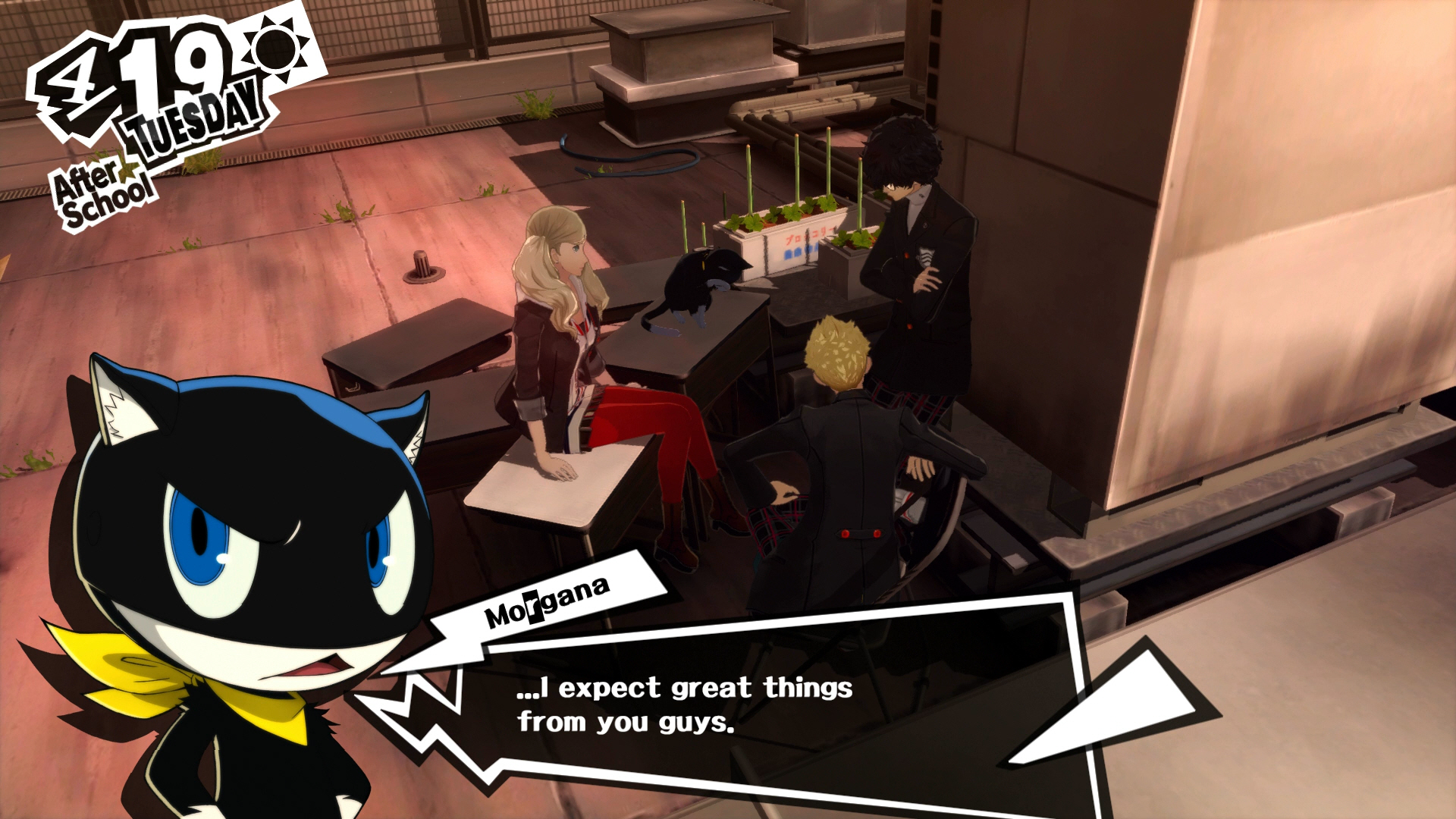 Screenshot from Persona 5. Three people are listening to a black cat speaking to him. An image of a cartoon cat saying '..I expect great things from you guys' is at the bottom of the image.