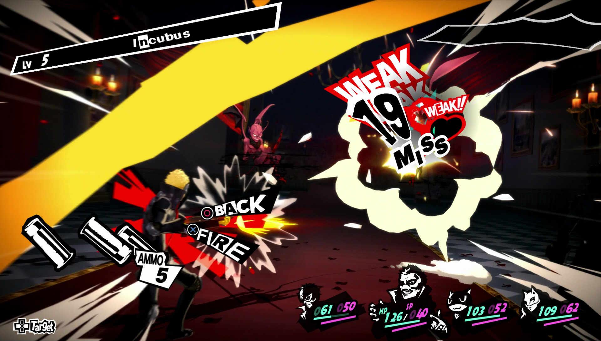 Screenshot from Persona 5. On the right side, Ryuji, blonde male, is shooting a gun towards winged creatures. The word Weak is captioned in red in the image.