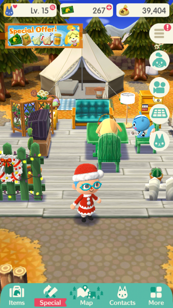 Screenshot from Animal Crossing Pocket Camp. It shows various characters from Animal Crossing; focus on the player that is wearing a Santa costume. They are sitting on various chairs and couches,reading..