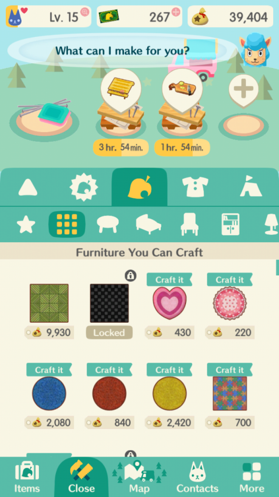 Screenshot from Animal Crossing Pocket Camp. A menu screen in blue and white. It shows a list of different items that can be made.
