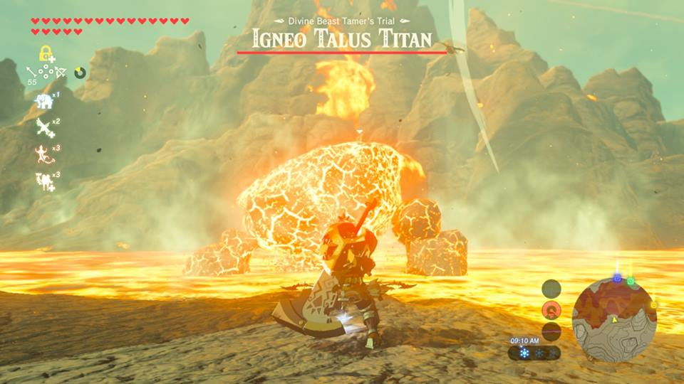 Screenshot from Zelda: Breath Of The Wild. Link is standing in front of a rock creature that is covered in fire, as it emerges from the lava pool.