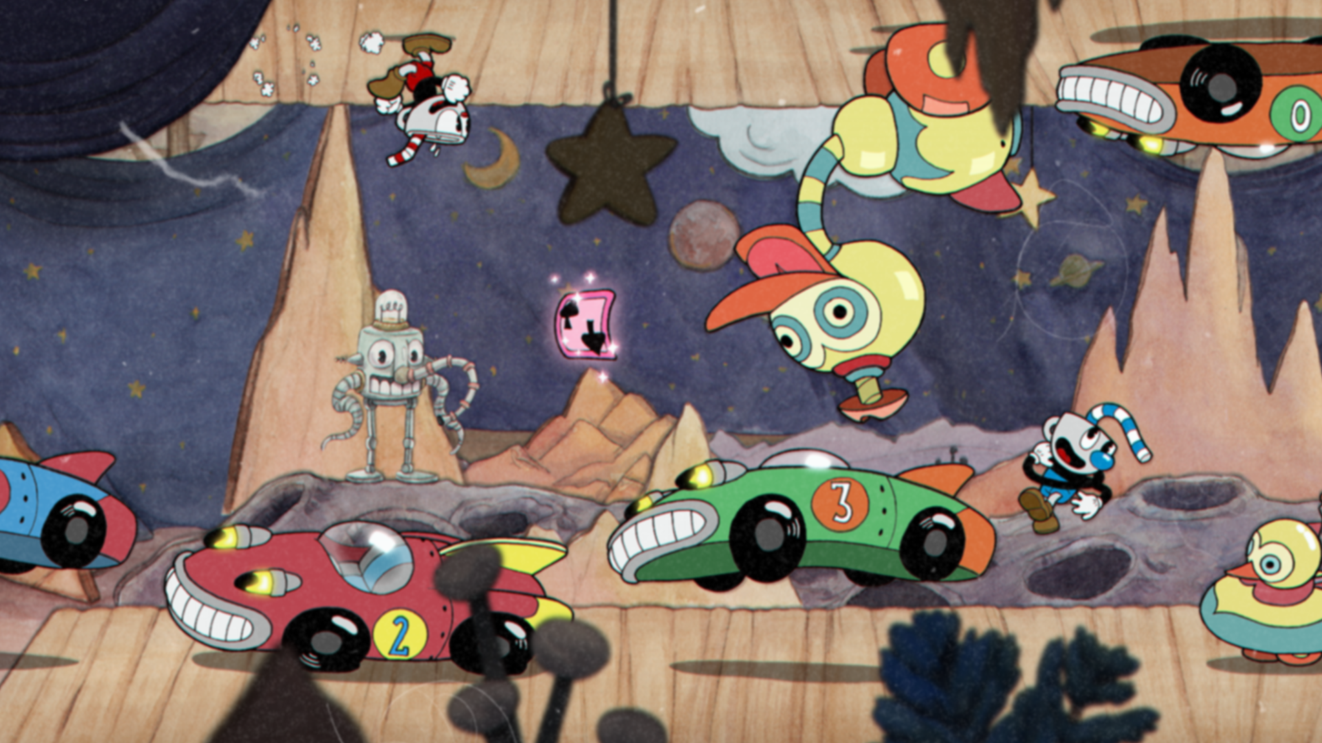 Screenshot from Cuphead. Red and green race cars driving across a wooden platform with Cuphead running upside down on the ceiling.
