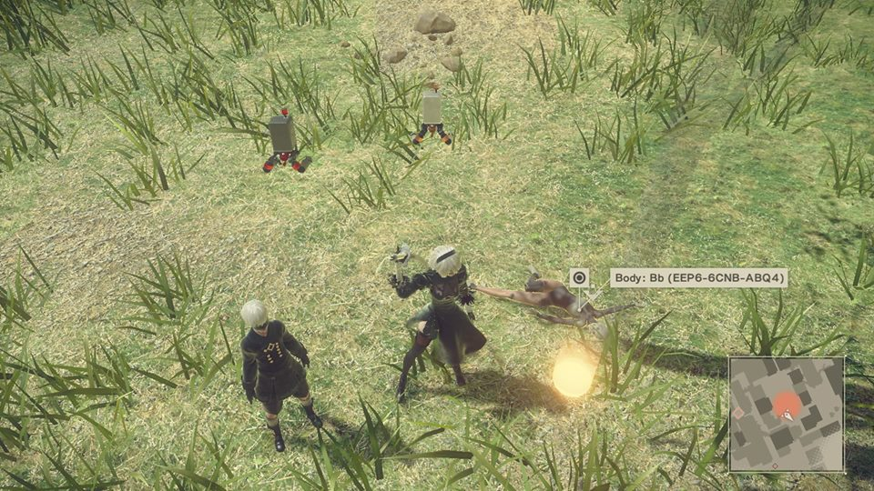 Screenshot from Nier Automata. 2B and 9S stand over the body of a dead android.