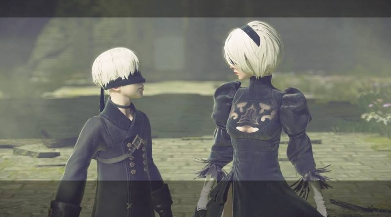 Screenshot from Nier Automata. Two characters, 9S and 2B stand face to face. They are wearing black outfits, and have white hair.
