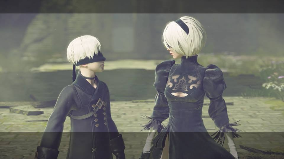 Screenshot from Nier Automata. Two characters, 9S and 2B stand face to face.