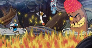 Screenshot from Cuphead. A laughing cigar is staring down Mugman as Cuphead's ghost floats to the top.