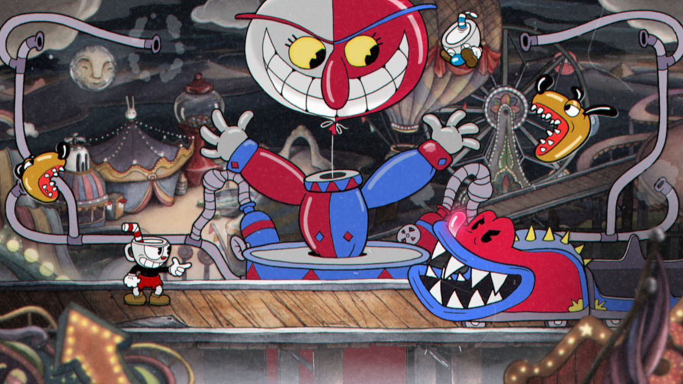 Screenshot from Cuphead. A Red and blue clown smiles down at Cuphead as a rollercoaster with teeth heads towards him.