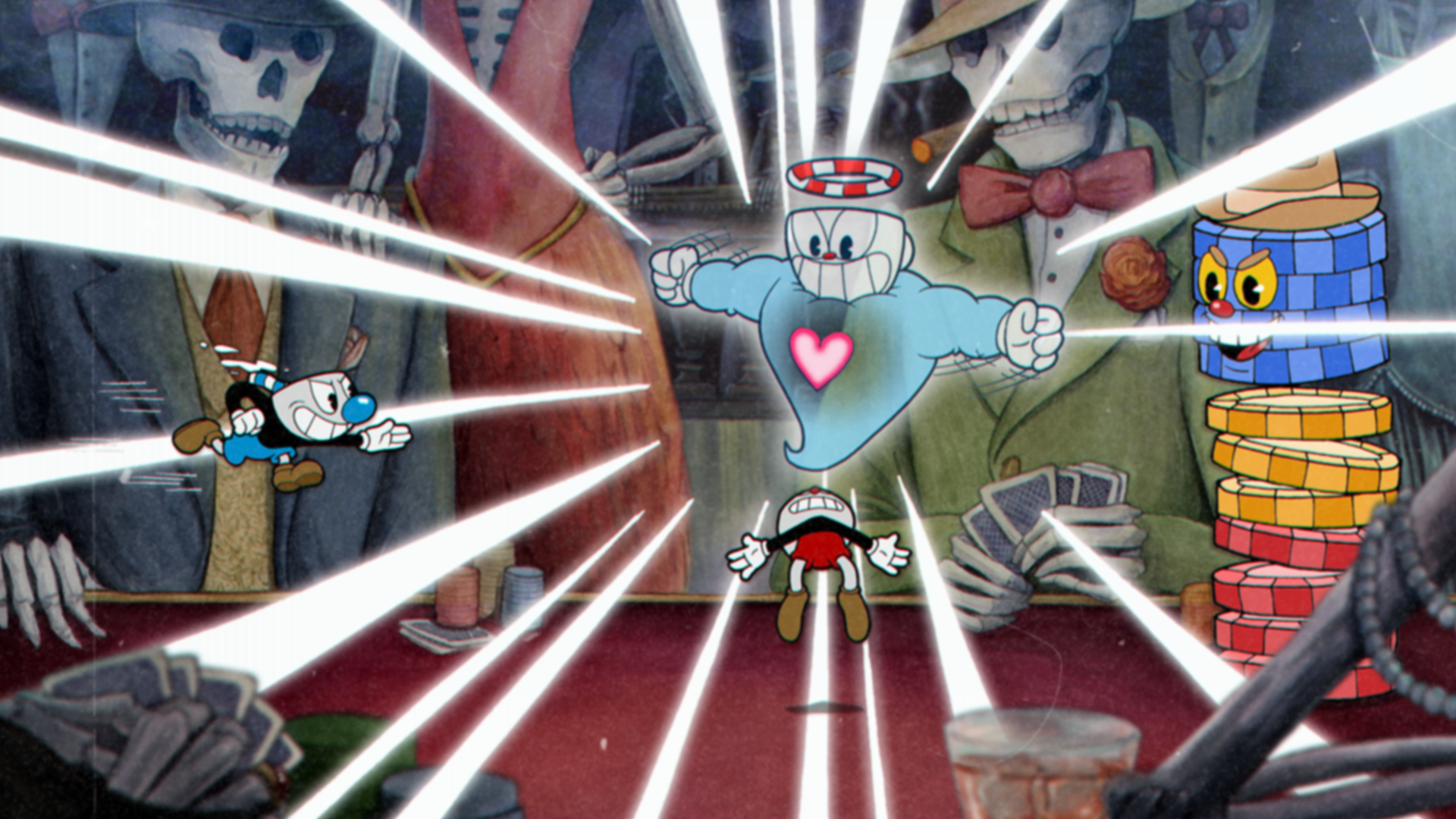 Screenshot from Cuphead. Cuphead's ghost hovers above his body; flexing its muscles.